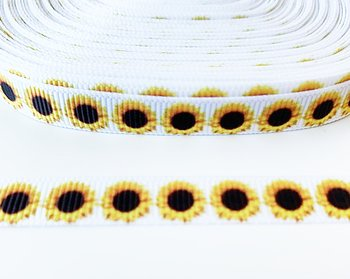 Printed ribbon sunflowers 10mm