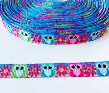 Printed ribbon owls 10mm