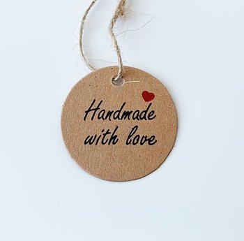 5-pack Hangtags handmade with love brun 30mm