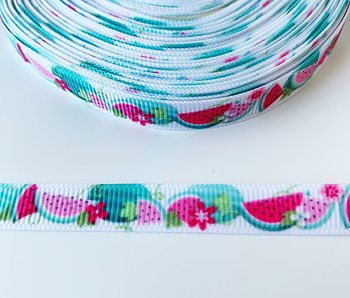 Printed ribbon watermelons and flowers 10mm