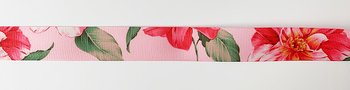 Printed ribbon big flowers on pink 22mm