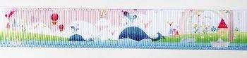 Printed ribbon whale on pink 22mm