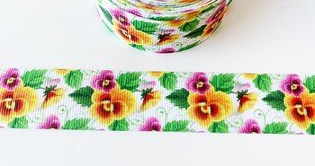 Printed ribbon violets 22mm