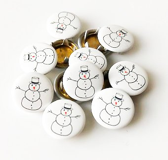 Snap-on button Snowman