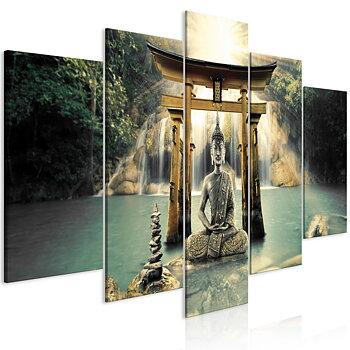 Tavla - Canvastavla - Buddha vattenfall