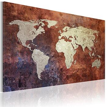 Tavla - Canvastavla - Rostig världskarta