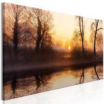 Tavla - Canvastavla  – Solnedgång på vintern
