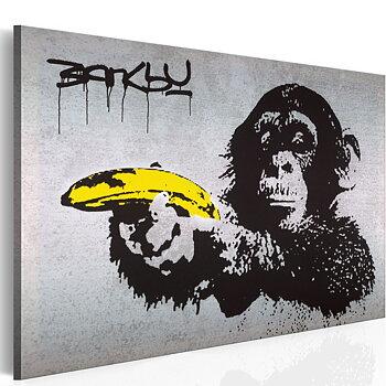 Tavla - Canvastavla - Banksy - Stanna eller så skjuter apan
