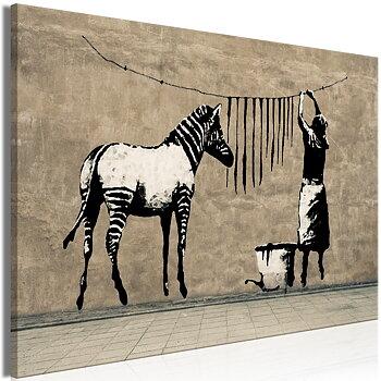 Tavla - Canvastavla - Banksy - Zebrans svarta ränder på tork