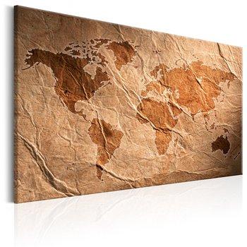 Tavla - Canvastavla - Världskarta av papper