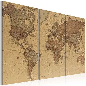 Tavla - Canvastavla - Världskarta retro