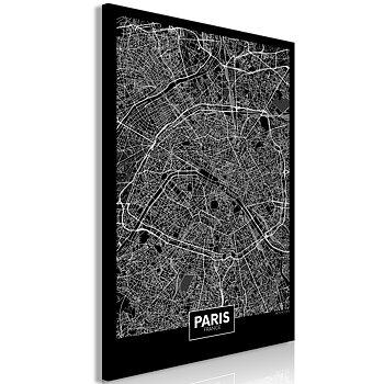 Tavla - Canvastavla - Dark Map of Paris Vertical