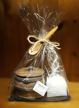 Presentförpackning saltkar med saltsked i trä samt gourmetsalt