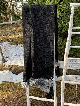 Pläd svart med svarta tofsar