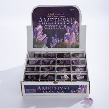 Amethist crystals in a box