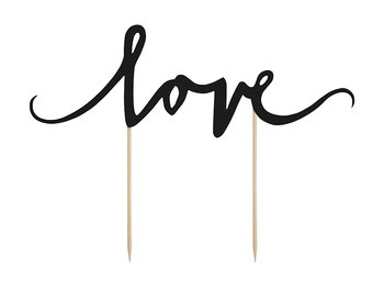 Cake topper Love, Black 17 cm