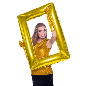 Balloon Selfie Frame Gold, 85 x 60 cm