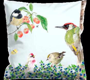 Cushioncover Fågelliv (Birdlife) White 40x40 cm