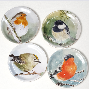 Glasunderlägg/Coaster med kant Kungsfågel