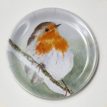 Coaster with border - Robin