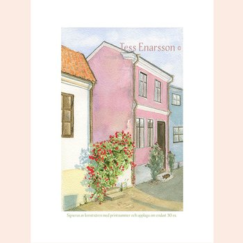 Giclee Artprint Red Roses Pink House - Signed Edition limited