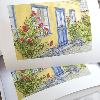 Giclee Artprint  - (The  Blue door in Lund) - Signed Edition limited