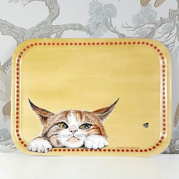 Tray 27x20 cm Kattsmyg (Sneaking cat) Yellow