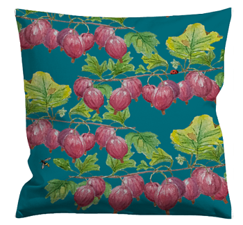Cushioncover Röda Krusbär (Red Gooseberries) Blue 40x40 cm
