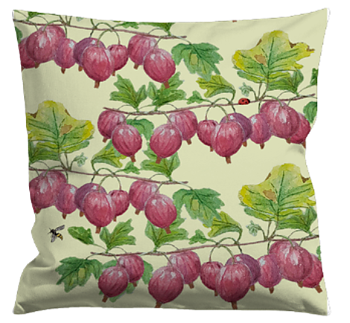 Cushioncover Röda Krusbär (Red Gooseberries) Pale Yellow 40x40 cm