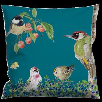 Cushioncover Fågelliv (Birdlife) Blue 40x40 cm