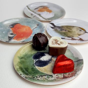 Glasunderlägg/ Coasters med kant 4-p