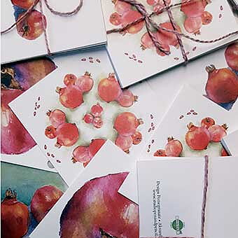 Cards for gifts 2,75 inch Pomegranate