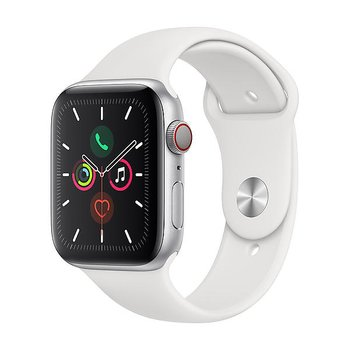 Apple Watch Series 5 GPS + Cellular, 44mm Silver Aluminium Case White Sport Band