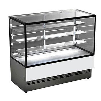 Varm display disk med 3 hyllor och vertikal front glas, ventilerad, l=900 mm - ral9005