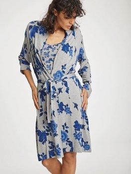Morgonrock i silkeslen bambu  - blåblommig