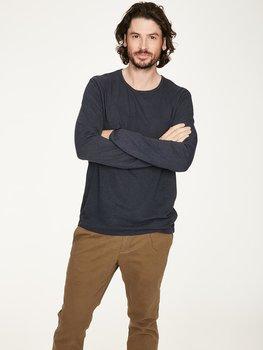 Blå långärmad T-shirt i hampa och bomull