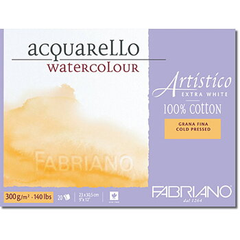 Fabriano Akvarellblock Extra White 300gr Fin gäng 30,5x45,5cm 20ark