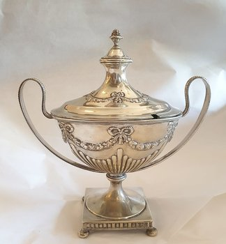 Sugar bowl, confectionery bowl on foot late gustavian style electroplate