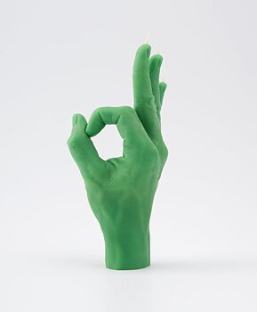 Candle Hand OK Grön