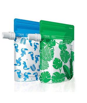 Cherub Baby Klämpåse/Matpåse 10 st - blå/grön