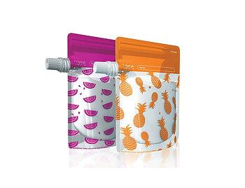 Cherub Baby Klämpåse/Matpåse 10 st - rosa/orange