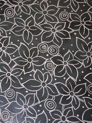 Mesh FLOWERS svart/vit/silver