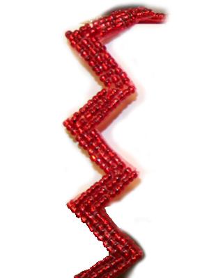 Pärlband ZIGZAG rött