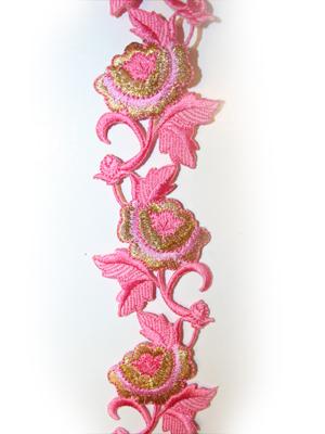 BLOMBAND - rosa/guld