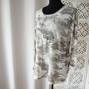 Långärmad t-shirt One Size CAMOU TAUPE - Reunion Home