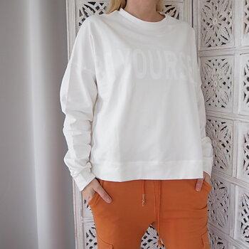 Sweatshirt med tryck Over Size VIT - Ajlajk