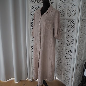 Lång linneskjorta My One Size BEIGE/PUDER - Stajl Agenturer