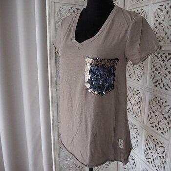 Ana t-shirt med glitterficka NOUGAT (flera storlekar) - Lo-ika