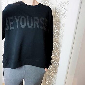 Sweatshirt med tryck Svart - Ajlajk