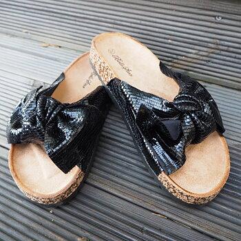 Sandal med rosett SVARTGLITTRIG - Train of Trend